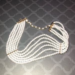 Faux Pearl Gold Tone Choker Necklace